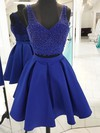 A-line V-neck Short/Mini Satin Tulle Beading Prom Dresses #PDS020106376