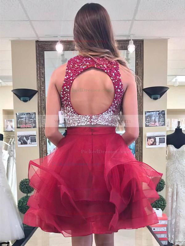 Princess Scoop Neck Short/Mini Organza Beading Prom Dresses #PDS020106377