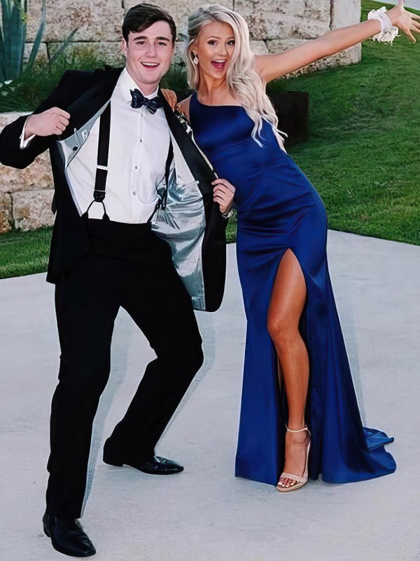 Trumpet/Mermaid One Shoulder Satin Sweep Train Split Front Prom Dresses #PDS020106402