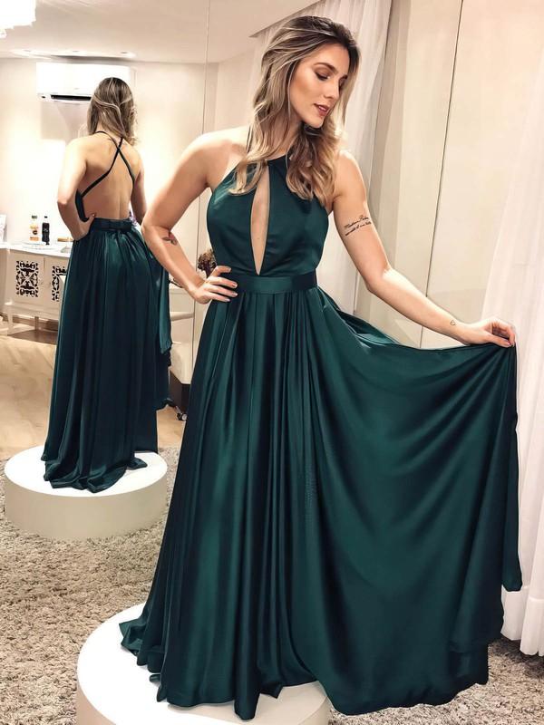 A-line Halter Floor-length Prom Dresses #PDS020106404