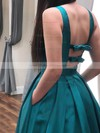 A-line V-neck Satin Floor-length Bow Prom Dresses #PDS020106405