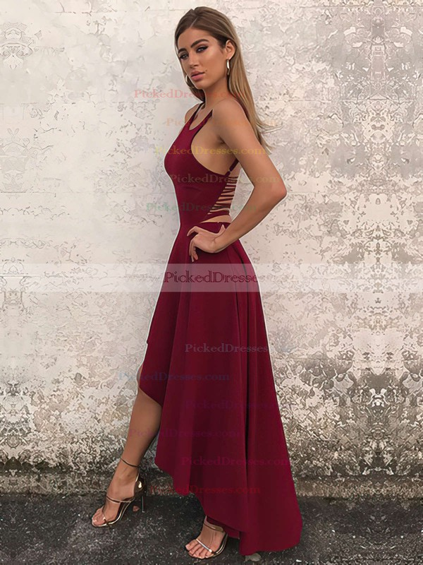 A-line Scoop Neck Asymmetrical Prom Dresses #PDS020106378