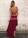 A-line Scoop Neck Asymmetrical Prom Dresses #PDS020106378