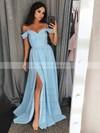 A-line Off-the-shoulder Floor-length Split Front Prom Dresses #PDS020106382