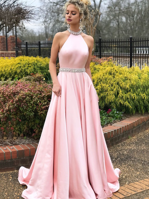 A-line Halter Sweep Train Satin Beading Prom Dresses #PDS020106383