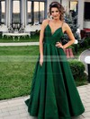 A-line V-neck Floor-length Satin Prom Dresses #PDS020106385