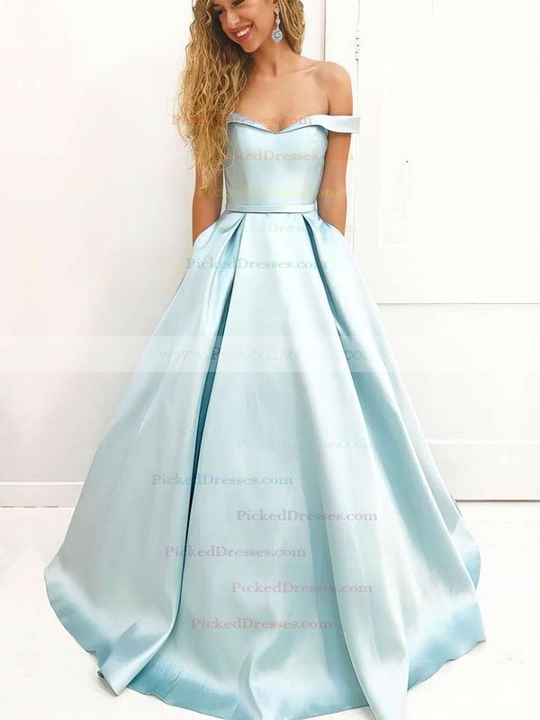 Ball Gown Off-the-shoulder Floor-length Satin Prom Dresses #PDS020106386
