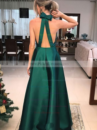 A-line V-neck Floor-length Satin Bow Prom Dresses #PDS020106389