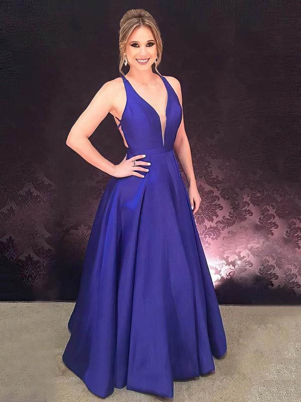 A-line V-neck Floor-length Satin Prom Dresses #PDS020106392