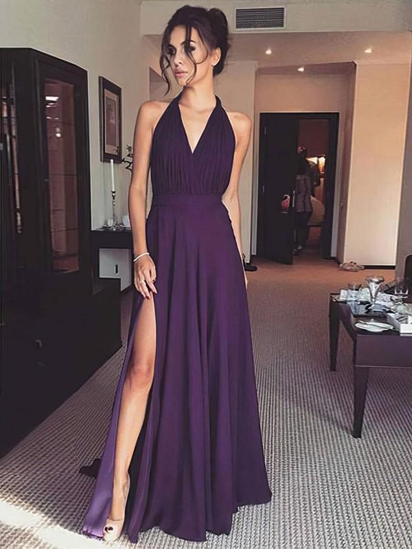 A-line Halter Floor-length Chiffon Split Front Prom Dresses #PDS020106394