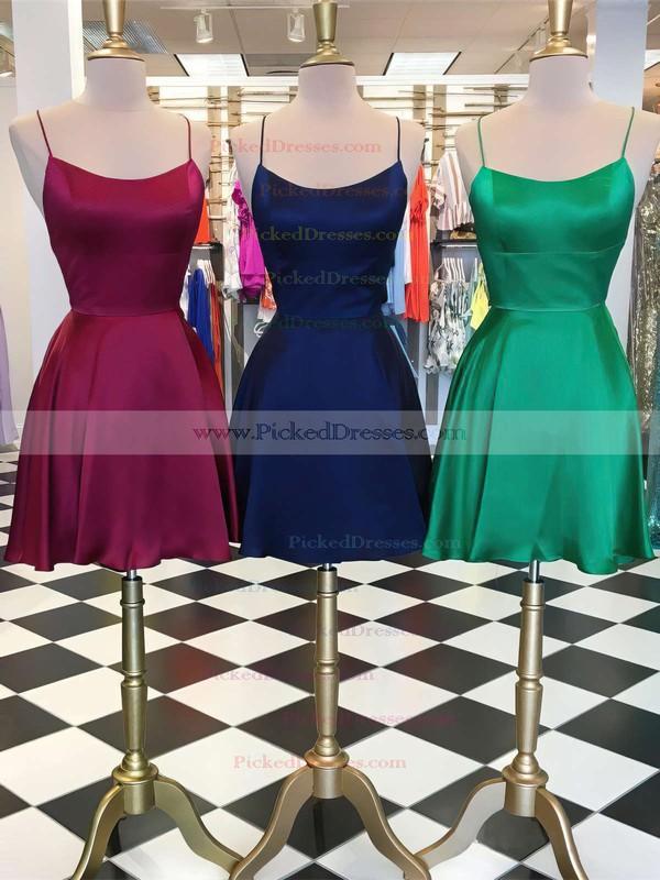 A-line Halter Short/Mini silk like satin Prom Dresses #PDS020106397