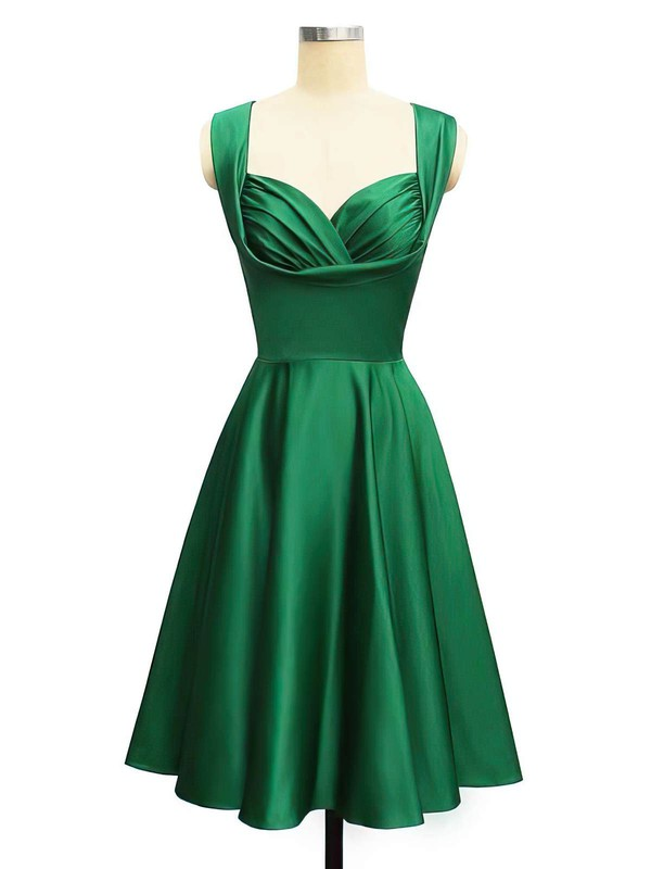 A-line Straps Knee-length Satin Ruffles Prom Dresses #PDS02013400