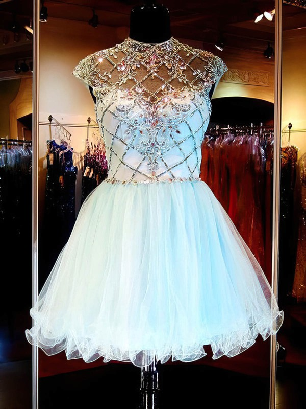 Short/Mini Light Sky Blue Scoop Neck Tulle Beading Open Back Prom Dresses #PDS020101145