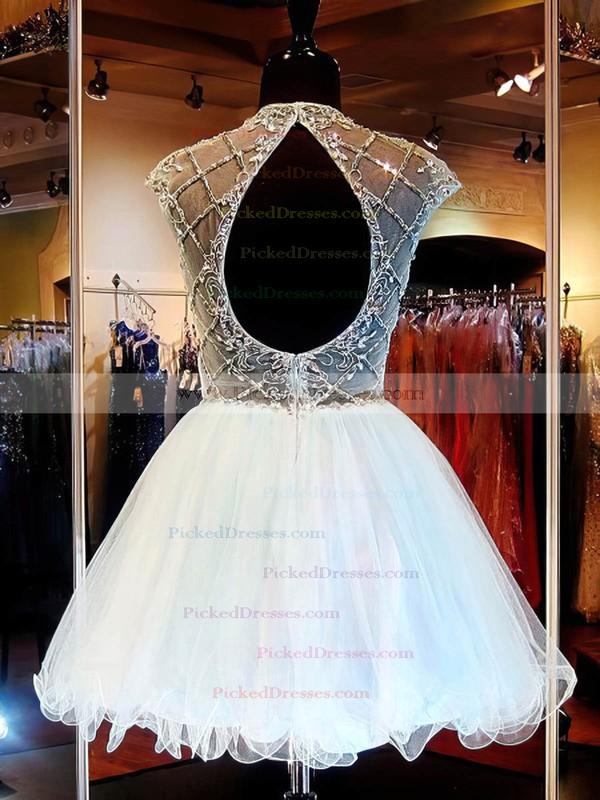 Short/Mini Light Sky Blue Scoop Neck Tulle Beading Open Back Prom Dresses #PDS020101145