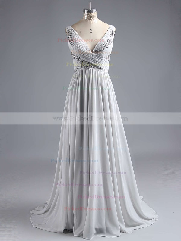 V-neck Discounted Chiffon with Appliques Lace Floor-length Prom Dresses #PDS020101225