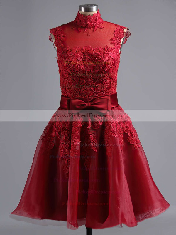 Knee-length Multi Colours Tulle Appliques Lace High Neck Online Prom Dresses #PDS020101414