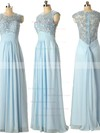 Discounted A-line Scoop Neck Chiffon Tulle Appliques Lace Light Sky Blue Prom Dresses #PDS020101630