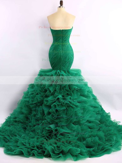 Trumpet/Mermaid Green Organza Court Train Cascading Ruffles Expensive Prom Dress #PDS020101683