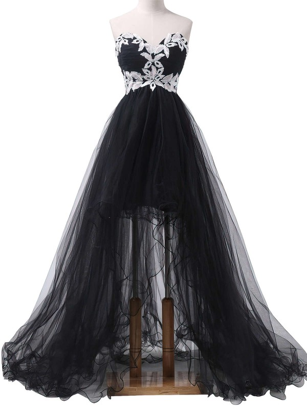 Asymmetrical Sweetheart Tulle Appliques Lace Different Black Prom Dress #PDS020101693