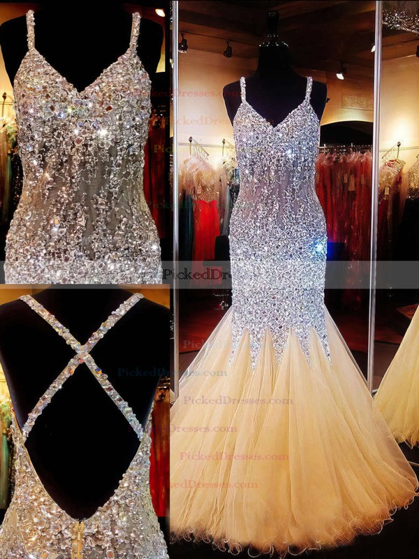 Exclusive V-neck Backless Tulle Crystal Detailing Trumpet/Mermaid Prom Dresses #PDS020101840