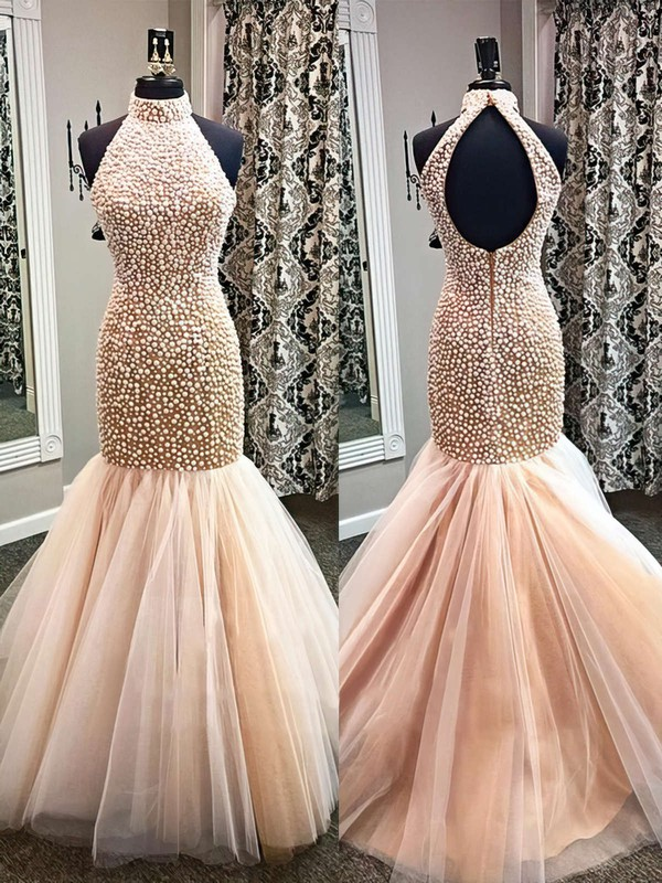 Popular High Neck Open Back Tulle Pearl Detailing Trumpet/Mermaid Prom Dresses #PDS020101846