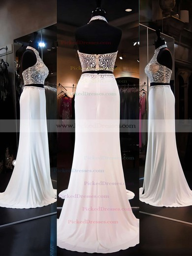 Two Pieces Sheath/Column Backless Chiffon Tulle Beading Halter Prom Dresses #PDS020101849