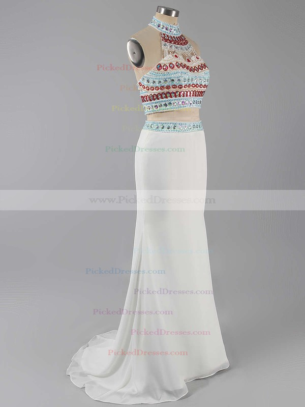 Sheath/Column Ivory Jersey Beading Sweep Train Two Pieces Prom Dresses #PDS020101850