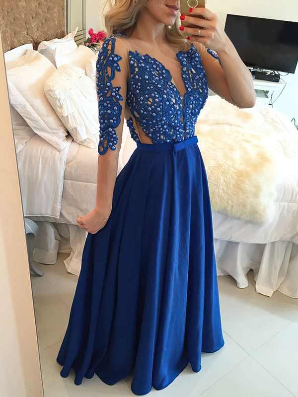 Royal Blue A-line Scoop Neck Chiffon Tulle Pearl Detailing 1/2 Sleeve Prom Dress #PDS020101864