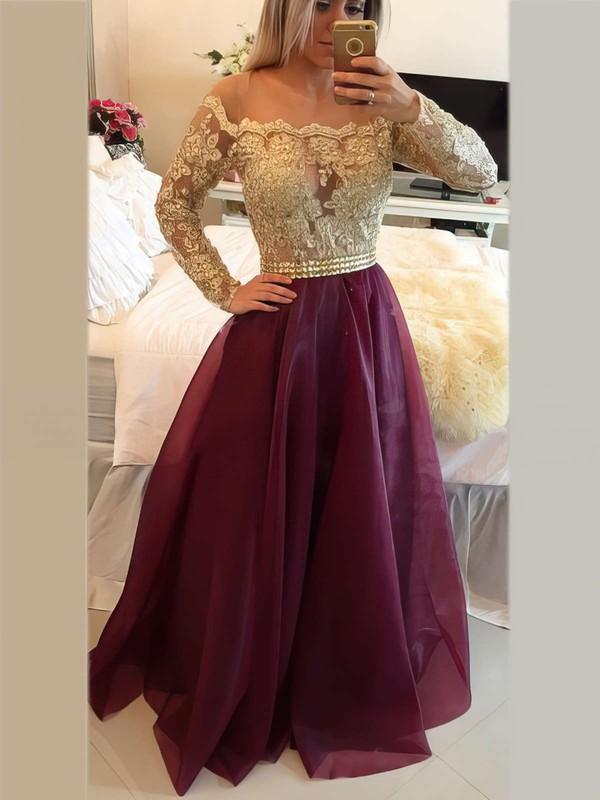 Elegant Scoop Neck Floor-length Organza Beading Long Sleeve Prom Dress #PDS020101877