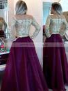 Elegant Scoop Neck Floor-length Organza Beading Long Sleeve Prom Dress #PDS020101877