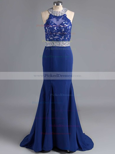 Sweep Train Chiffon Split Front Exclusive Open Back Trumpet/Mermaid Prom Dresses #PDS020102056