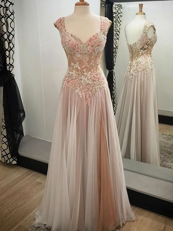 V-neck Floor-length Tulle with Appliques Lace Pretty Prom Dresses #PDS020102138
