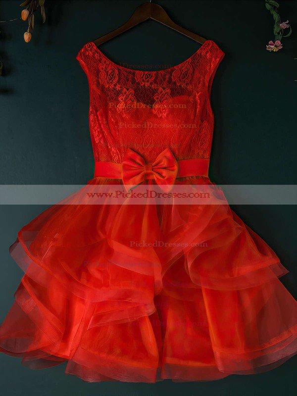 Fashion Scoop Neck Lace Tulle with Bow Short/Mini Prom Dress #PDS020102158