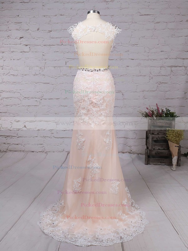 Amazing Sheath/Column Tulle Sweep Train Appliques Lace Open Back Prom Dress #PDS020102160
