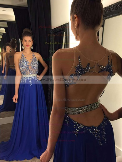 Scoop Neck Chiffon Tulle Beading Sweep Train Sexy Open Back Prom Dresses #PDS020102188