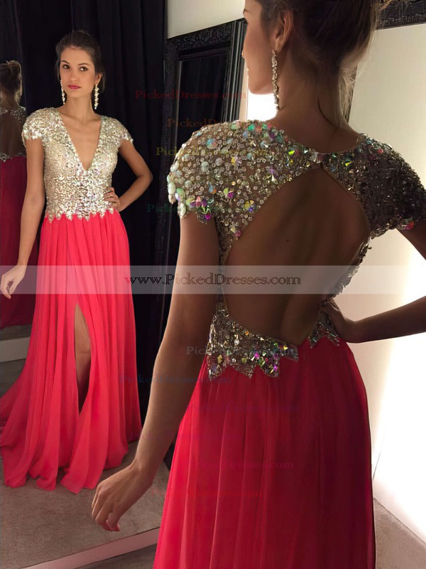 V-neck Good Chiffon Tulle Crystal Detailing Sweep Train Open Back Prom Dresses #PDS020102202