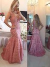 Gorgeous V-neck Lace Tulle with Beading Trumpet/Mermaid Prom Dress #PDS020102205