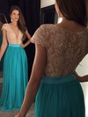 V-neck Floor-length Lace Chiffon Crystal Detailing Newest Short Sleeve Prom Dress #PDS020102209