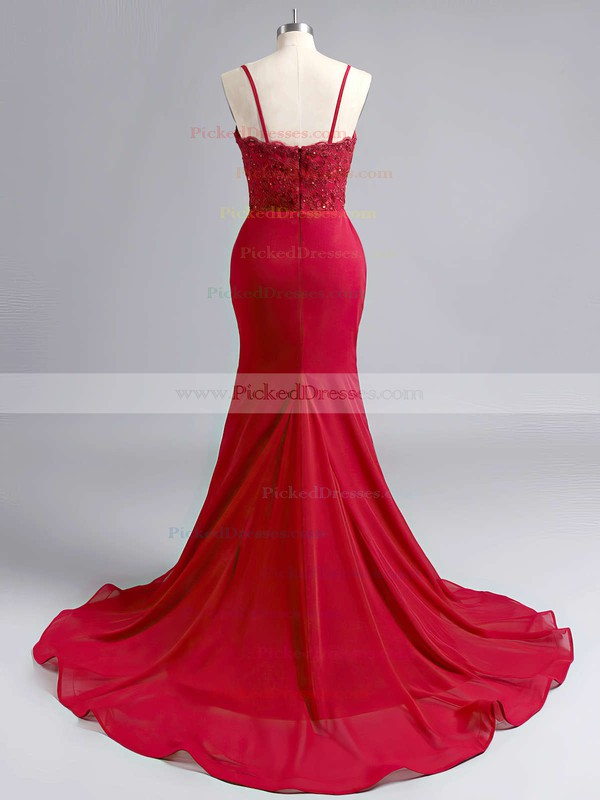 Sheath/Column Jersey Appliques Lace Sweep Train Designer Prom Dress #PDS020102223
