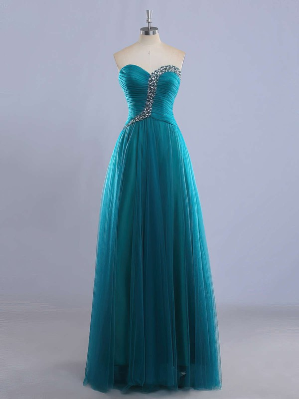 Elegant Sweetheart Tulle Beading Lace-up Floor-length Prom Dress #PDS020102225