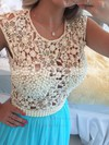 Scoop Neck Floor-length Lace Tulle Pearl Detailing Pretty Prom Dress #PDS020102229