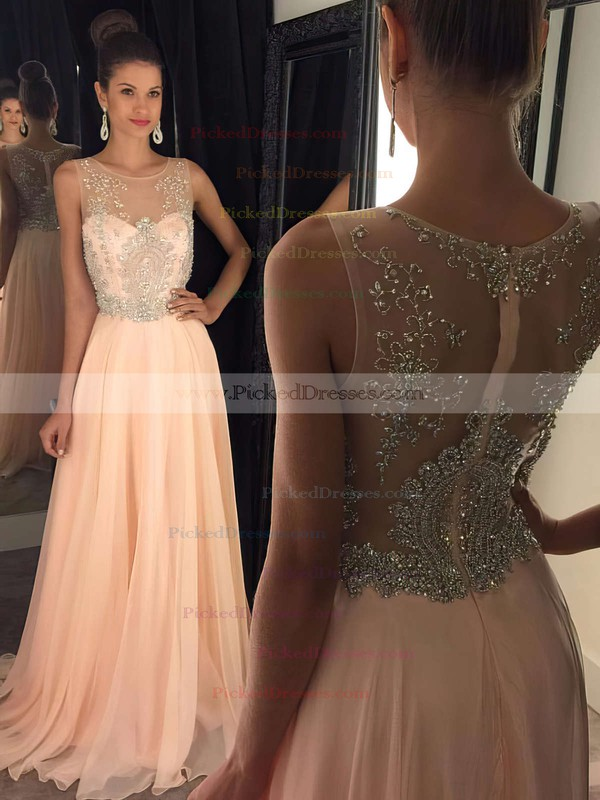 Best Scoop Neck Sweep Train Tulle Chiffon with Beading Black Prom Dresses #PDS020102320