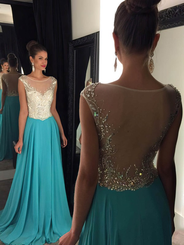 Sweep Train Scoop Neck Tulle Chiffon Beading Unique Long Prom Dresses #PDS020102322