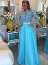 V-neck A-line Blue Tulle Lace with Beading Long Sleeve Prom Dresses #PDS020102323