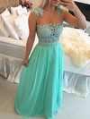 Gorgeous A-line Scoop Neck Chiffon Tulle Appliques Lace Long Prom Dress #PDS020102327