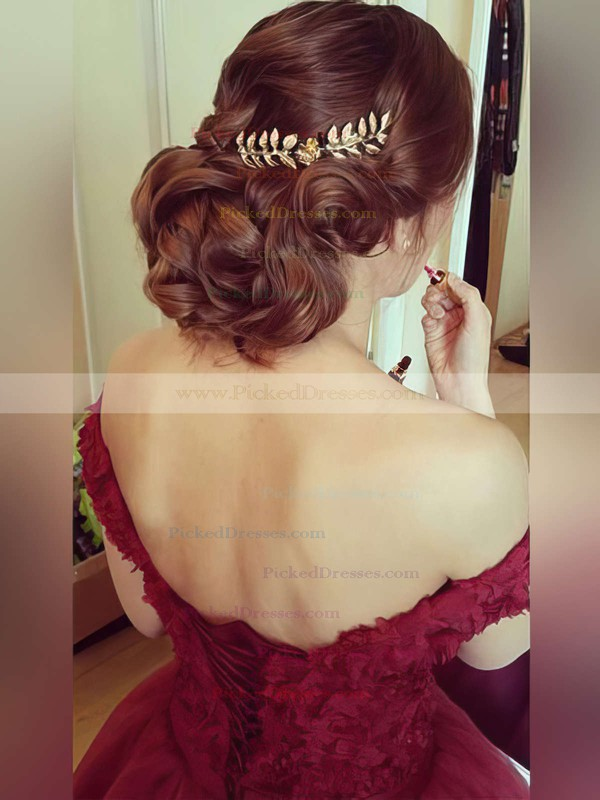 Ball Gown Burgundy Tulle Appliques Lace Amazing Off-the-shoulder Prom Dress #PDS020102328