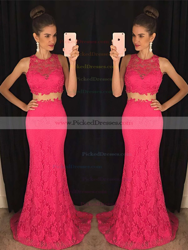 Two Piece Scoop Neck Funky Lace Beading Trumpet/Mermaid Prom Dress #PDS020102334