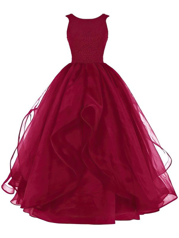 Ball Gown Burgundy Organza Beading Scoop Neck Prom Dresses #PDS020102390