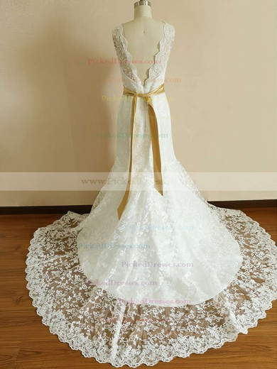 Winter Ivory Lace Trumpet/Mermaid Sashes/Ribbons Scalloped Neck Wedding Dress #PDS00020542