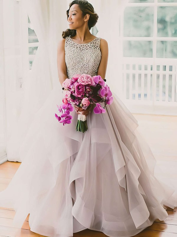 Open Back Ball Gown Organza Sweep Train Beading Sexy Prom Dresses #PDS020102394